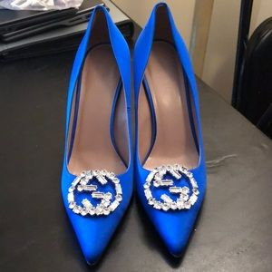 Gucci royal blue satin heels